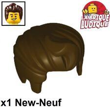1x Minifig cheveux coiffure hair lisse marron foncé//dark brown 92081 NEUF Lego