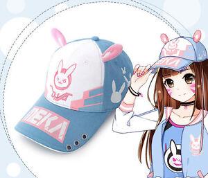 OW D.VA Bunny Rabbit Cosplay Baseball Cap DVA Snapback Hat ... c5f576f2f0f