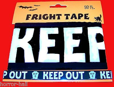 30-Ft Warning KEEP OUT Tombstone Fright Caution Tape Halloween Decoration-BLACK