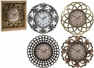 Vintage-Retro-metallic-Small-Round-Wall-Clock-25-CM-Sliver-Gold-Bronze-Home