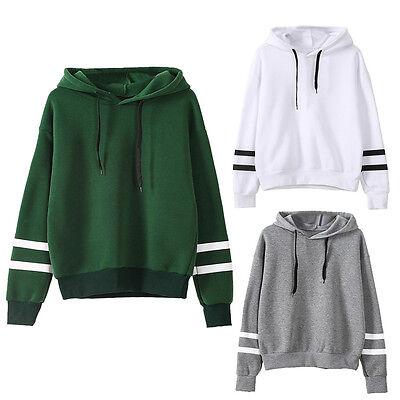Womens Long Sleeve Hoodie Sweatshirt Jumper Hooded Pullover Tops Blouse Coat we