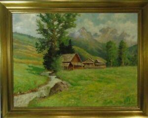 Müller-Baumgarten: Romantic Alps Landscape, oil paintings, Munich Painter