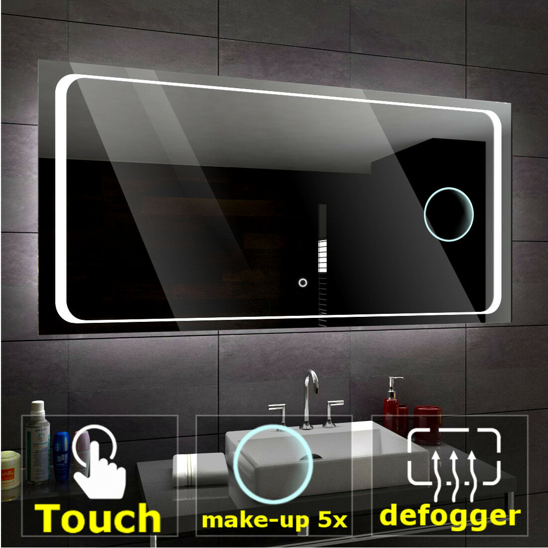 BARCELONA Illuminated Led bathroom mirror    Switches   Make-up   Demister pad