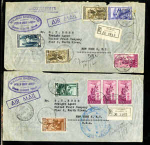 ITALIE-Timbres-2-vol-Couvre-William-Shepard-Steamships-RARE