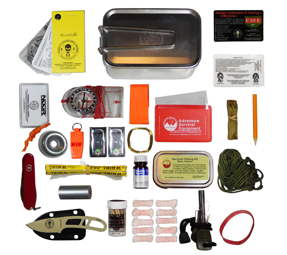 Mess Tin Survival Kit with Olive Drab Molle Pouch Esee Knives