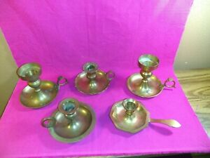 Vintage-Brass-Candlestick-Candle-Holders-Wedding-Chamber-Stick-Patina-Lot-Of-5