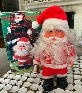 "Vintage Retro Musical Santa Claus w Bell plays 3 Songs 1970 w Original Box 10"""