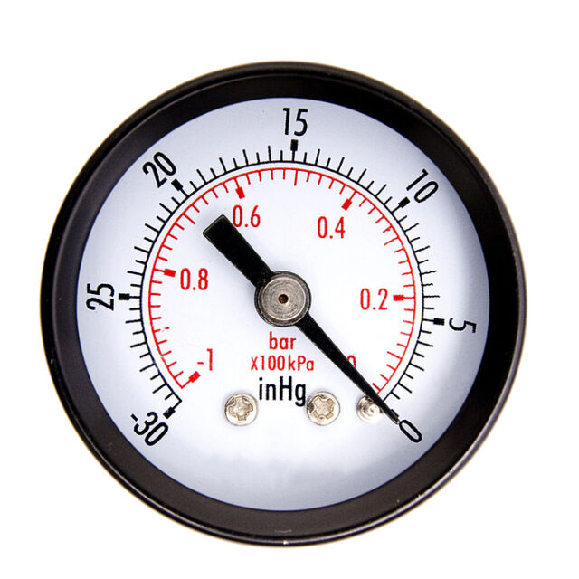 "1-1/2"" Dry Utility Vacuum Pressure Gauge Steel 1/4"" Center Back -30HG/0PSI vr"