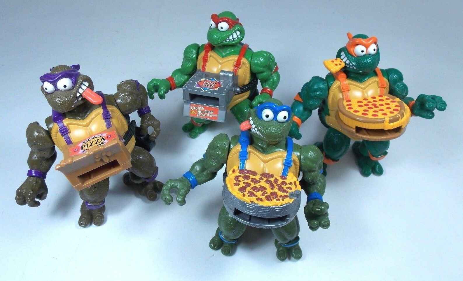 TEENAGE MUTANT NINJA TURTLES 1994 PIZZA TOSSIN LOT OF 4 MIKE DON LEO RAPH