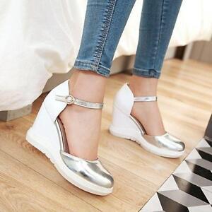 Fashion-Ladies-Stylish-Ankle-Strap-Women-039-s-Wedge-Heel-Platform-Shoes-Plus-Size