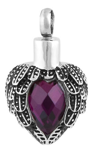 Perfect Memorials Amethyst Angels Near Heart Stainless Steel Cremation Jewelry