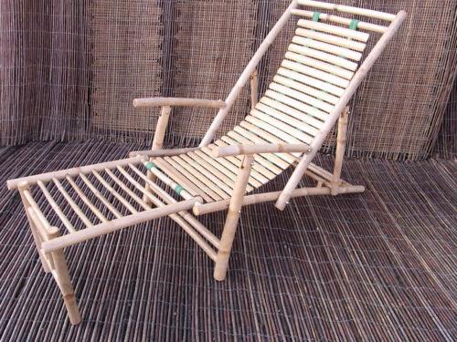 Liegestuhl Sonnenliege Bambus Relaxliege Bambusmöbel Arm /& Fußlehne NEU