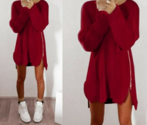 Women/'s Sweater Long Sleeve Knitted Winter Pullover Baggy Jumper Top Dresses