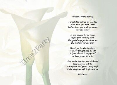 A4 Poem To My Daughter In Law Welcome To The Family Gift To The
