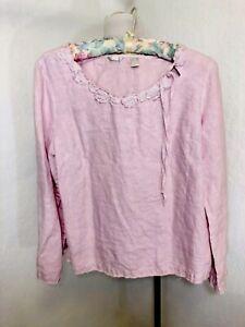 KLEEN-Linen-Top-SZ-M-ROSETTES-APPLIQUE-Lagenlook-Art-to-Wear-Pink