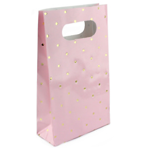 Pink Gold Foil Polkadot Party Bags 6pk Baby Shower Lolly Treat Gift Favour Sweet