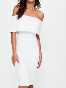 7aaa3e51ccb4 MISSGUIDED White Cut Out Back Overlay Midi Dress UK 6 US 2 EU 34 ...