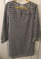 Old Navy Cotton Black/white Tunic Dress Cover Up Embroidered Sz L