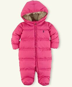 009ec4f9b NEW  165 RALPH LAUREN BABY GIRLS QUILTED DOWN SNOWSUIT BUNTING ONE ...