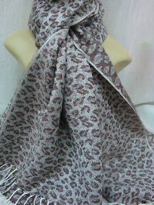 LEOPARD-PRINT-PASHMINA-CASHMERE-SCARF-SHAWL-WRAP-COLOR-CHOCOLATE