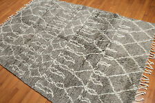 5'x8' Authentic Beni Ourain Handmade Moroccan Rug Gray Ivory Wool New