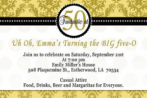 30 damask birthday invitation lady men 50th party invites gold and