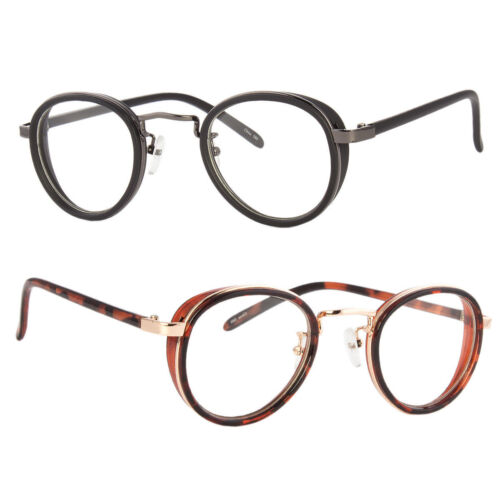 Black Vintage Retro Steampunk Side Shield Hipster Round Clear Lens Glasses