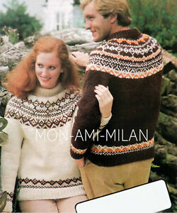 aa1e2a9f0b Image is loading Fair-Isle-Yoke-Chunky-Sweater-Knitting-Pattern-Copy-