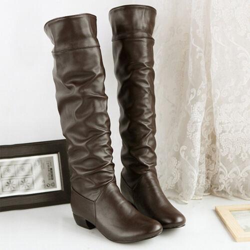 Women/'s Casual Winter Knee High Boots High Tube Flat Heels Riding Boots Hot