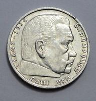 RARE GERMAN 5 MARK Reichsmark 1935 F Silver COIN EAGLE Hindenburg Nazi 3RD WW2