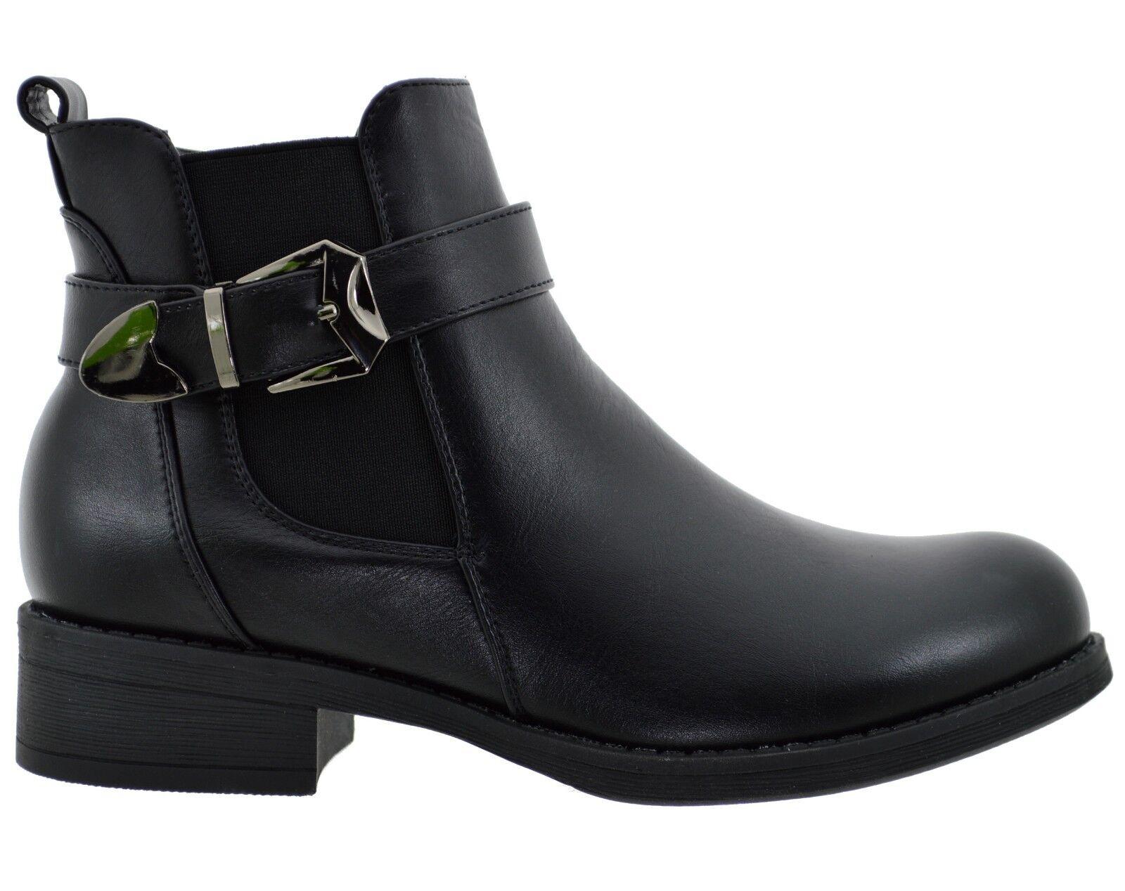 693746b8978297 Tronchetti neri con elastici stivaletti con le fibbie scarpe donna stivali  scuri