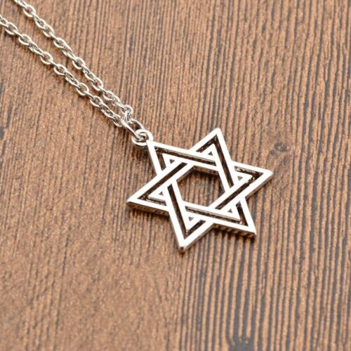 Fashion Star of David Silver//Gold Statement Chain Charm Pendant Necklace Jewelry