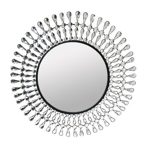 Metal Round Wall Mirror Crystal Decor 28 D Home