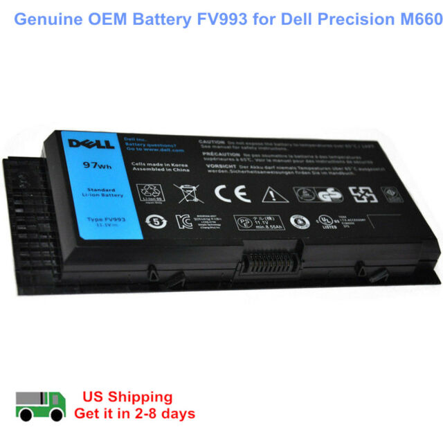 Genuine OEM Battery FV993 M6600 for Dell Precision M4800 M4600 M6800 FJJ4W 97WH