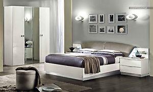 Modernes Schlafzimmer Komplett-Set Schrank Bett Nachttische Weiß ...