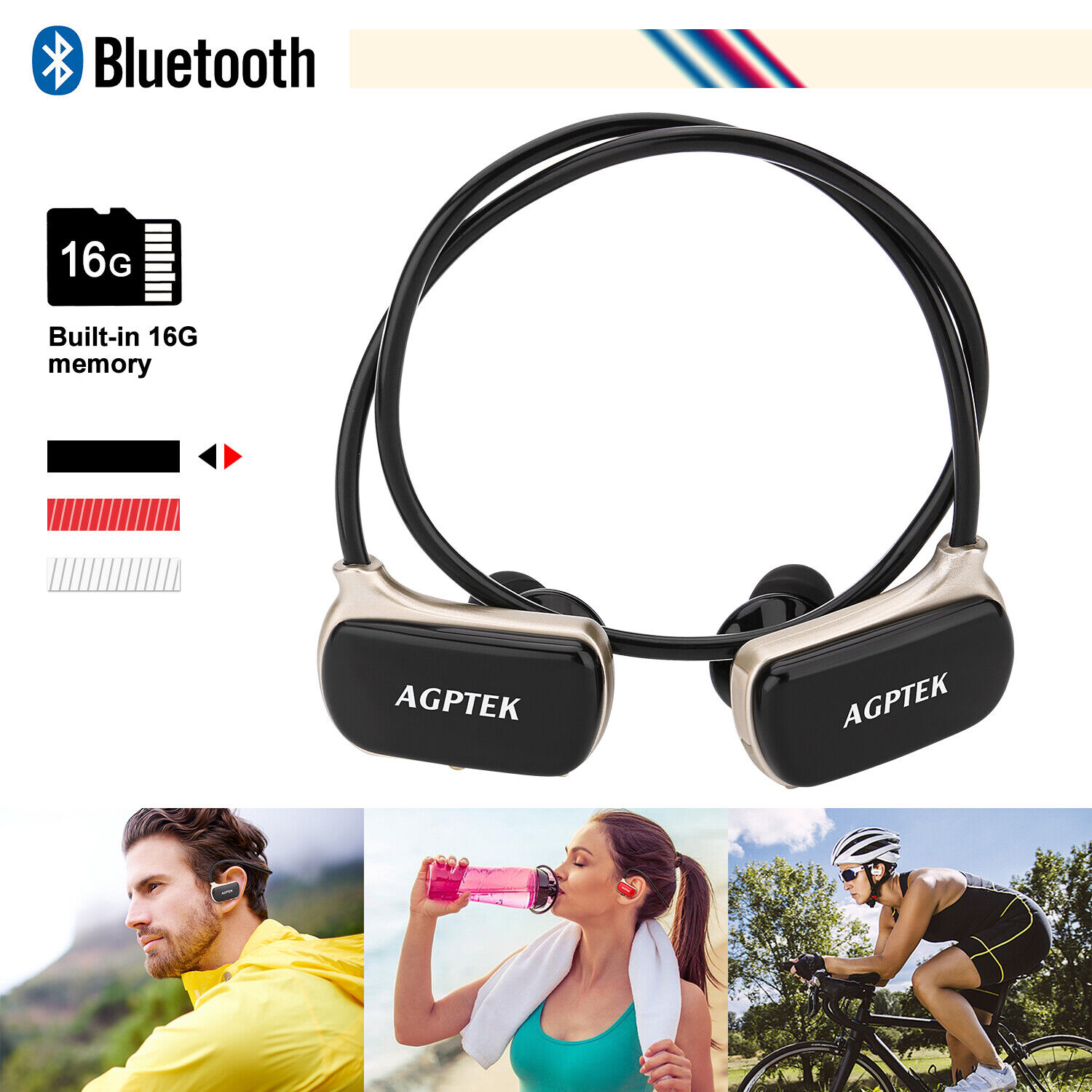 Wireless MP3 Music Player Running Swim Headset Earphone /& Protective Case