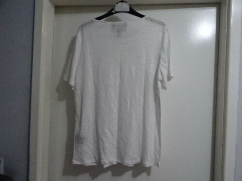 Lovely Anthropologie White Laced Linen Tee Shirt by James Coviello RRP-£78.00