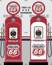 GAS PUMP SET PHILLIPS 66 BANNER GAS STATION GARAGE DISPLAY SIGN ART 2- 2' X 5'