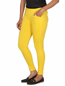 Vipakshi Women's Yellow Lycra Cotton Stretchable Stylist Jeggings (JE-15 D)