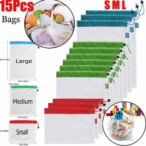 12pcs//15pcs Reusable Mesh Produce Bags Washable Eco Friendly Bags for Grocery Sh