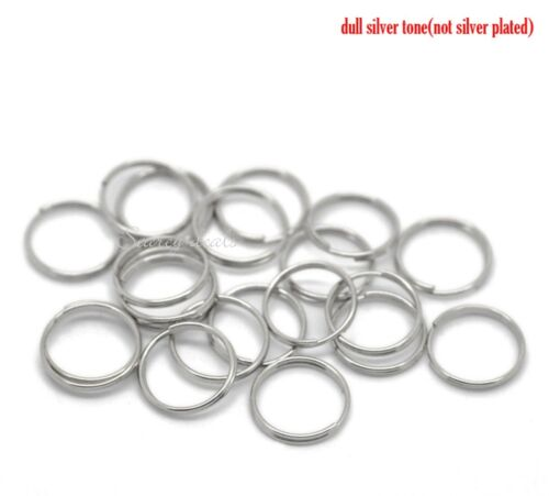 40 x  silver tone 12mm SPLIT RINGS keyring sp chain FINDING lures 1ST CLASS POST
