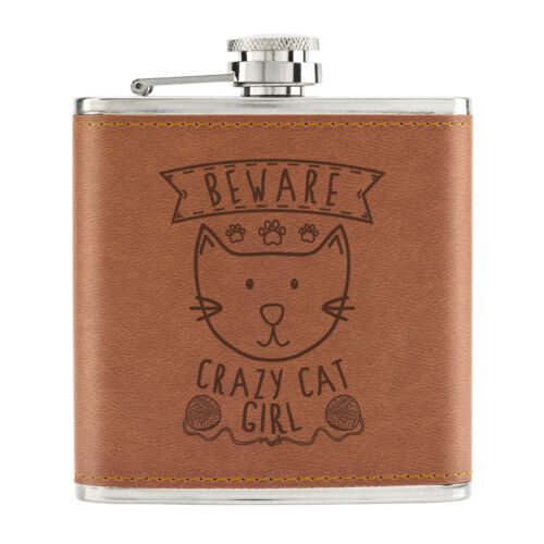 Beware Crazy CAT Girl 170ml PU Leather Flat Man Tan-Funny Kitten Animal