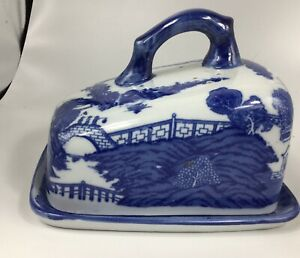 Blue Willow Cheese Keeper Dish