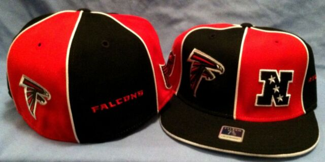 ATLANTA FALCONS ON FIELD BLK/RED PINWHEEL FLAT BRIM FITTED 7 3/8  NFL CAP REEBOK
