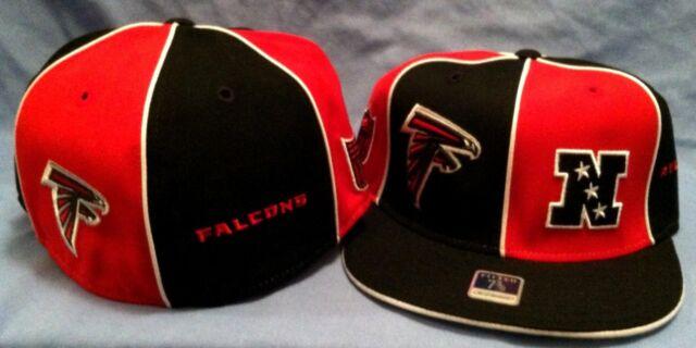 ATLANTA FALCONS ON FIELD BLK/RED PINWHEEL FLAT BRIM FITTED 7 3/8  NFL CAP REEBOK