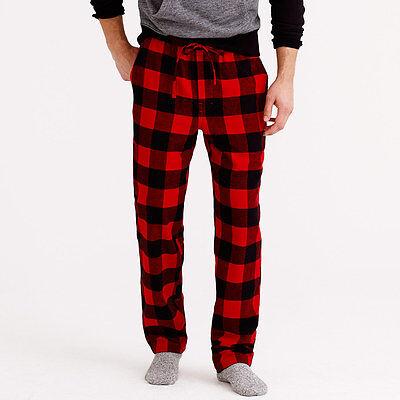 J. Crew Flannel Pajama Pants Bottoms Buffalo Check Plaid Red Black Mens Size