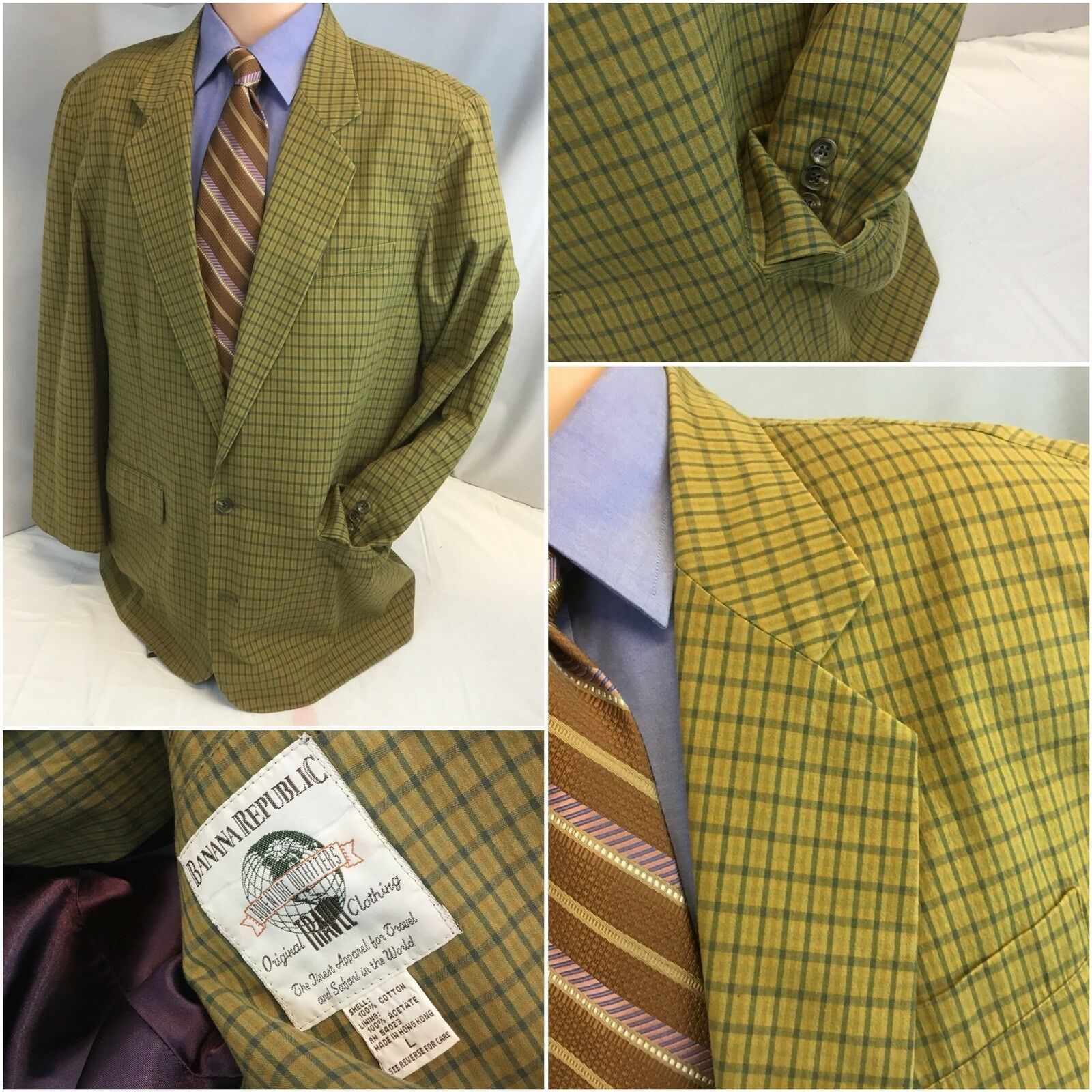 Banana Banana Banana Republic Blazer L Tan Plaid Cotton 2b Made Hong Kong 42R  YGI F8-340 f1f058
