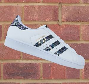 Image is loading Adidas-Originals-Superstar-Metallic-Snake-J-Junior-White-