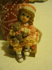 Little Girl in Pink Dress with Small Teddy, sittiing on a Box (GS13-11)