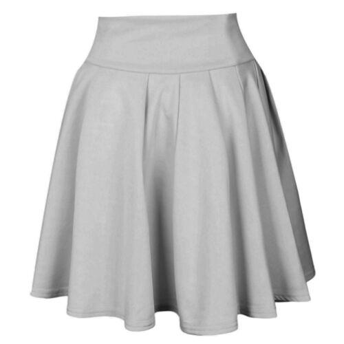 Womens Mini Skater Skirt Ladies Stretch Short Flared Party Formal Pleated Skirt